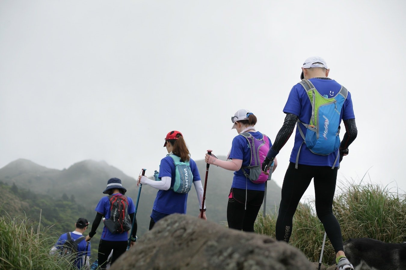 Young people hiking outdoors